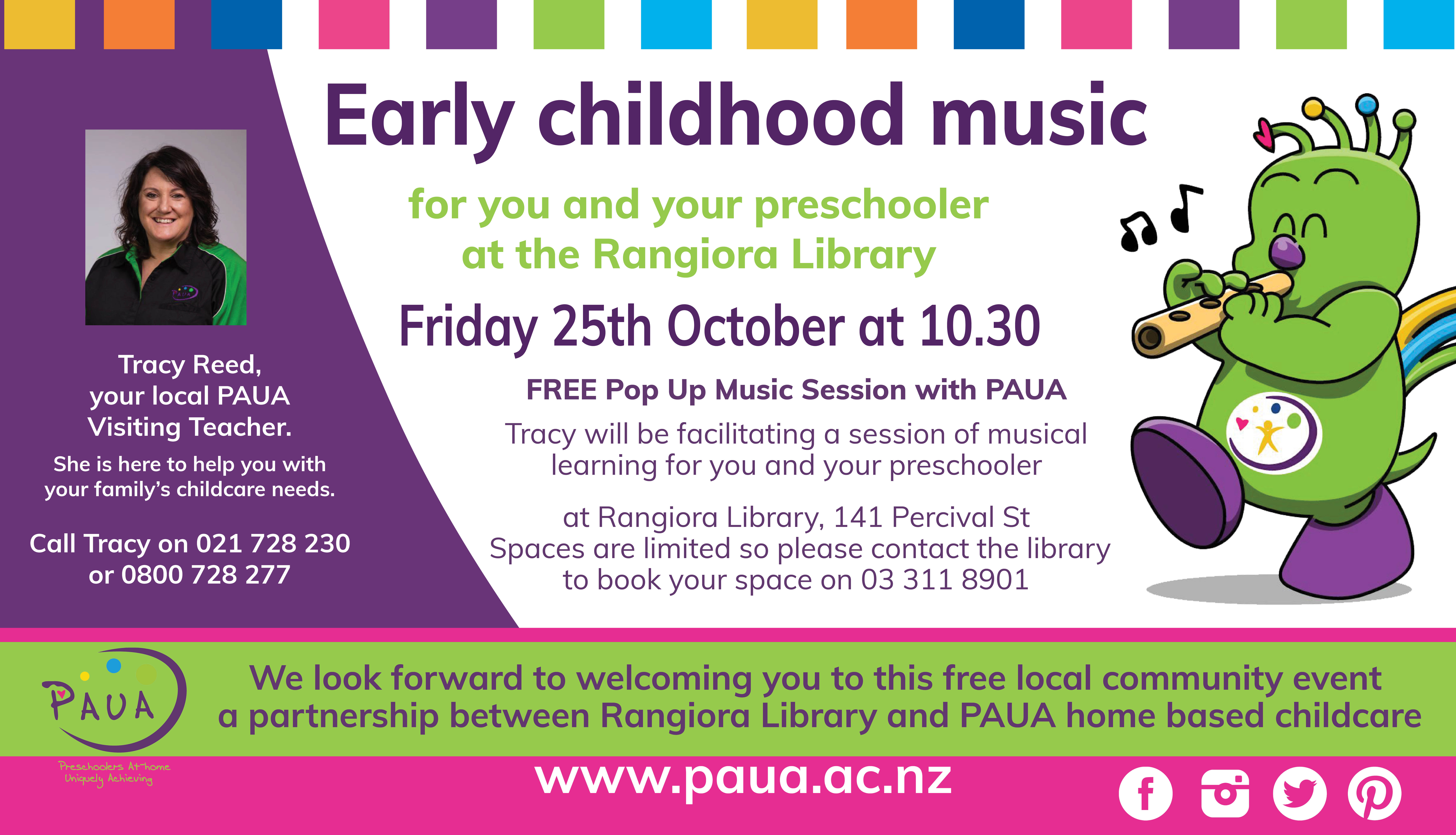 Early Childhood Music at the Library: PAUA Pop Up Music Session thumbnail image.