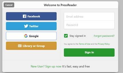 Pressreader login instruction example image